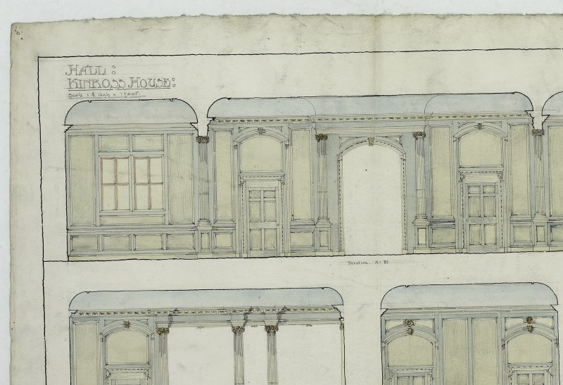 Elevations and plan of panelled hall at Kinross House by D Ramsay in his 4th Year of sketching class.