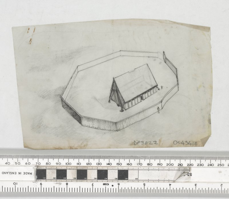 Small sketch in pen and ink on tracing paper showing 3D reconstruction of timber hall within palisaded enclosure