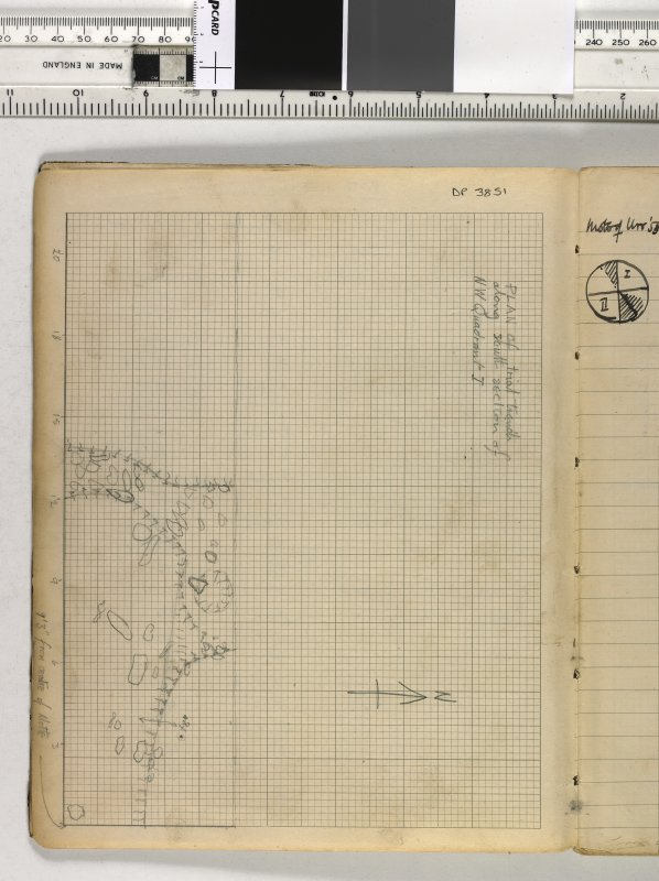 Notebook title 'OW 1953, 1954' containing notes from Old Windsor and Mote of Urr. Plan of trial trench along south section of NW Quadrant I