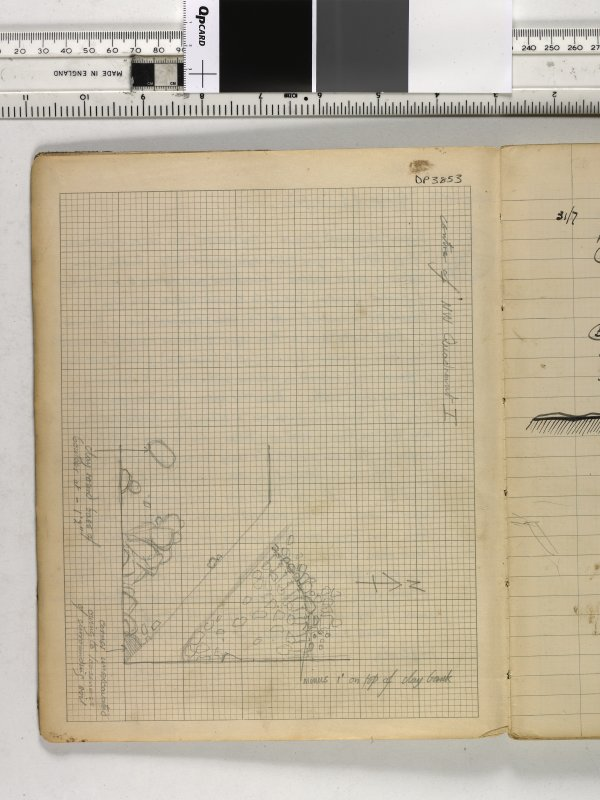 Notebook title 'OW 1953, 1954' containing notes from Old Windsor and Mote of Urr. Site levels from Mote of Urr, July/August 1953