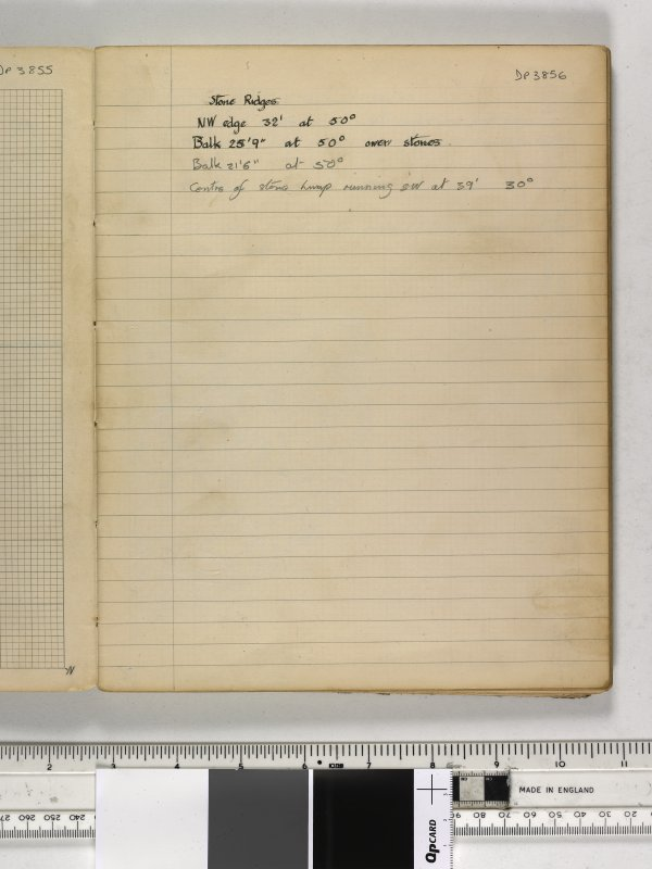 Notebook title 'OW 1953, 1954' containing notes from Old Windsor and Mote of Urr. Stone ridges.