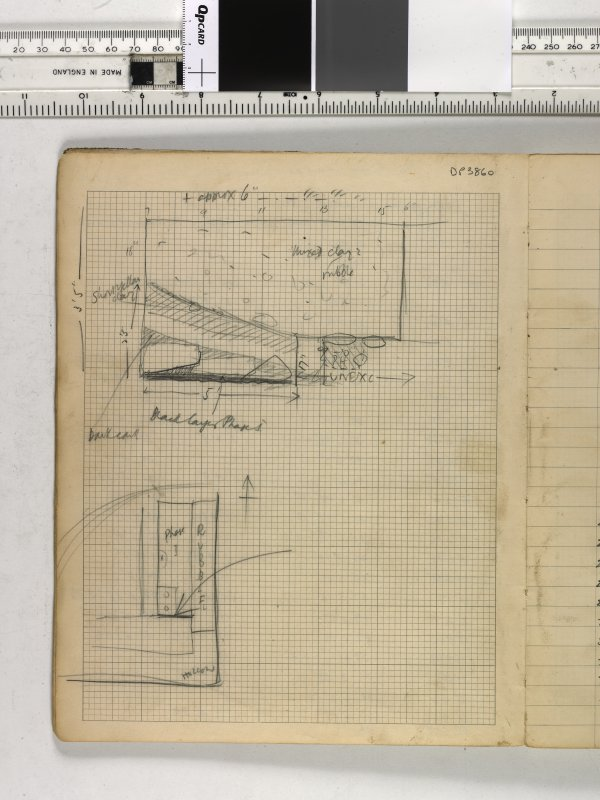 Notebook title 'OW 1953, 1954' containing notes from Old Windsor and Mote of Urr. Sketch plan and section.