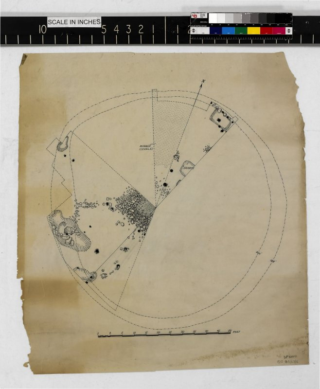 Untitled plan entitled 'Mote of Urr Excavations 1951: Sketch-plan (Motte-top)'