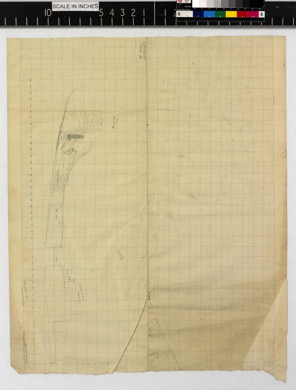 Pencil section drawing on lined graph paper titled 'Mote of Urr '53: Section E Quadrant I (NW)'