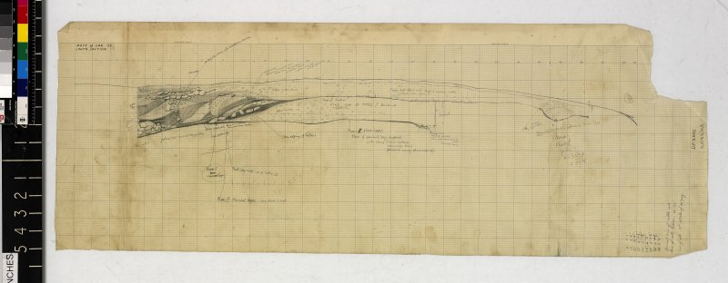Pencil section drawing on lined graph paper titled 'Mote of Urr '53: south section'