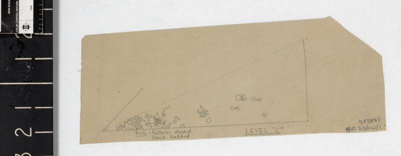 "Small pencil drawn plan on tracing paper of a quadrant of excavation area title 'Level ""C""'"