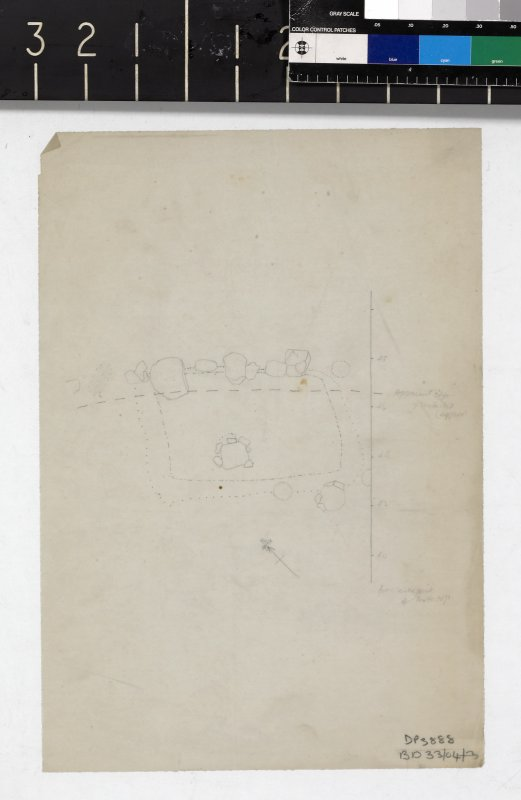 Untitled pencil drawn plan of excavated feature at edge of motte-top on tracing paper.