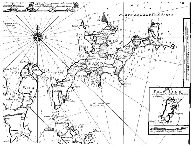 Publication illustration: MacKenzie's chart of Sanday, 1750.