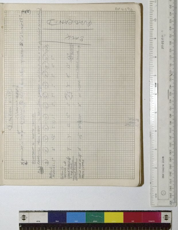 MS 2281/1.Site Notebook entitled 'Farthing Down '48/'49'. Depths and levels of strata identified in Quadrant A, North Section.