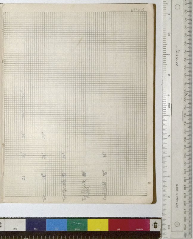 MS 2281/1.Site Notebook entitled 'Farthing Down '48/'49'. Measurements for section through Grinsell's Barrow 10 (B1), N-S section. Continued from DP4113 and DP4414.