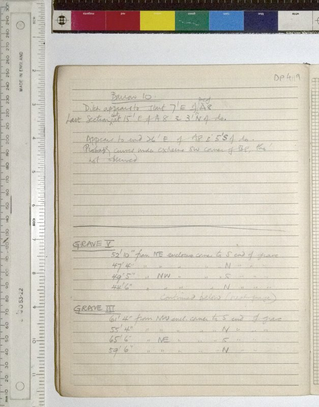 MS 2281/1.Site Notebook entitled 'Farthing Down '48/'49'.Notes on Orientaions of Barrow 10 and Graves III and V.
