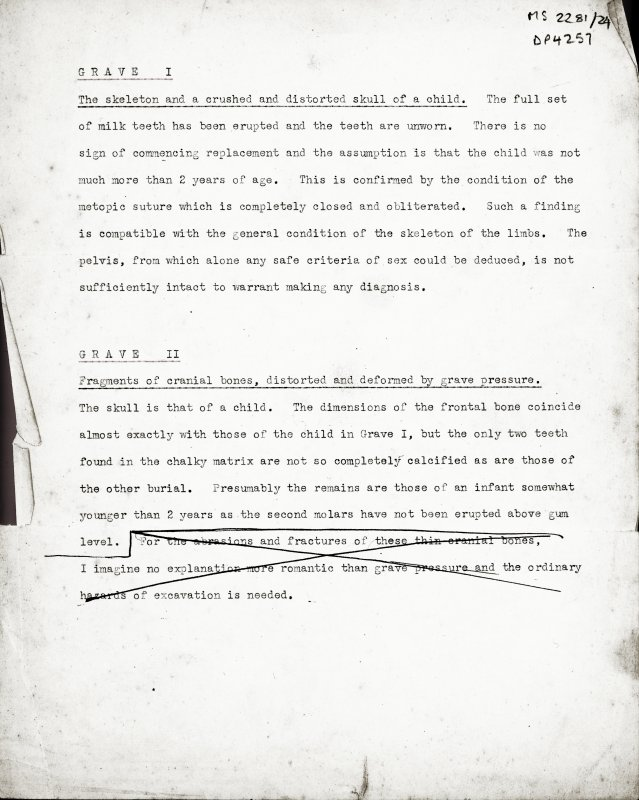 S2281/24. Untitled typed manuscript  describing human remains by grave. 1 of 9 sides.