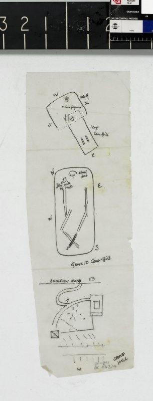 DC 44224. Sketch plans of Graves 9 and 10 from Cane Hill, near Farthing Down.