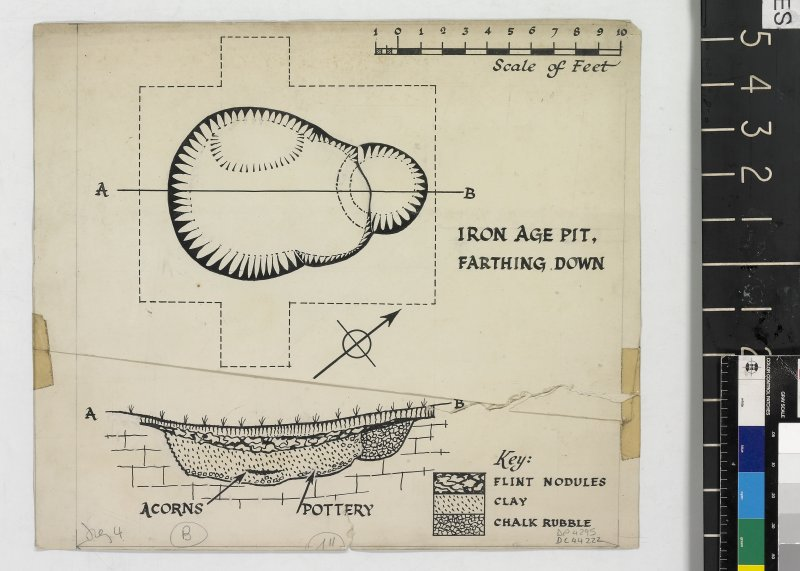 DC 44222. Plan and section titled 'Iron Age Pit, Farthing Down.'