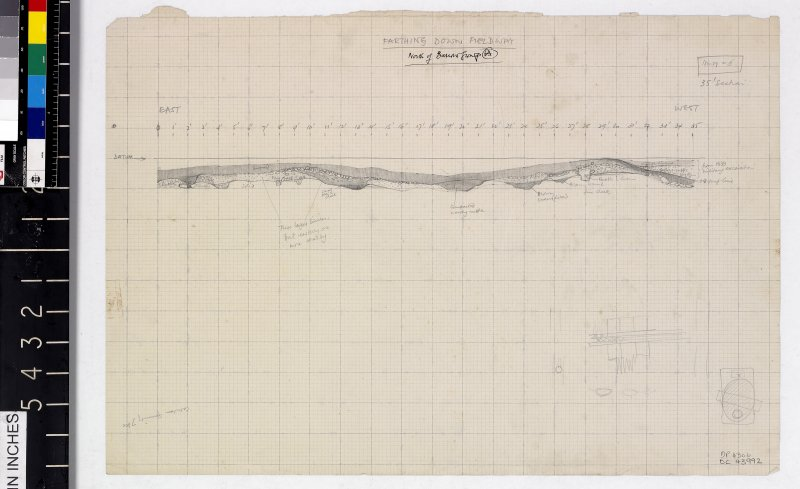 DC 43992. Section drawing titled Farthing Down Fieldway, North of Barrow Group A.