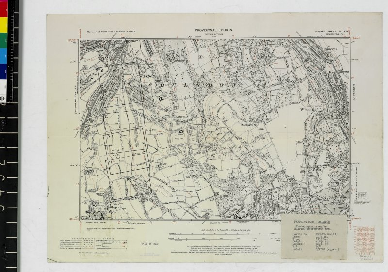 DC 44229. Copy of Provisional Edition of 1938 OS Map Surrey Sheet XX S.W. annotated with framed areas of photographs taking by Hunting Aerosurveys Ltd, Sortie no: HAS/UK/48/122