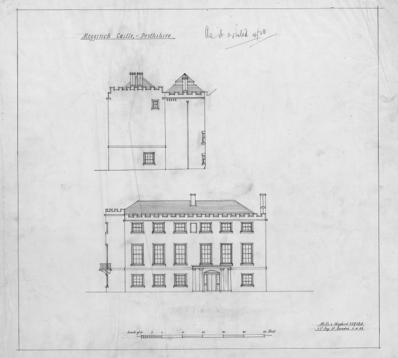 "Megginch Castle. Digital image of drawing showing elevations. Insc: ""Megginch Castle as it existed 4/28"""