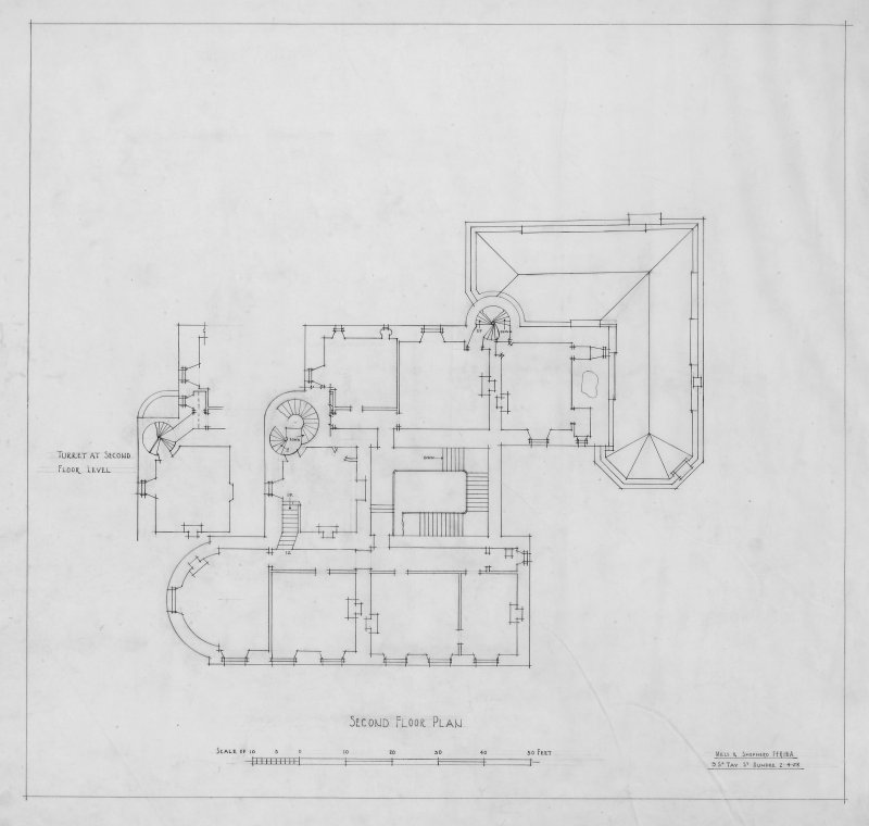 "Megginch Castle. Digital image of drawing showing second floor plan. Insc: ""Megginch Castle, Perthshire, Second floor plan"""