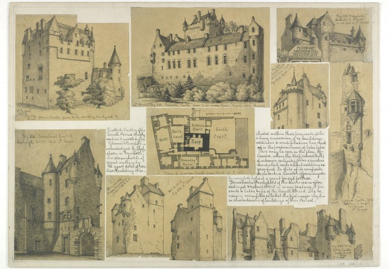 Drawings showing Glamis Castle, Cawdor Castle, Megginch Castle, Ferniehurst Castle, Elsieshields, Kellie Castle, Killochan Castle and Girnigoe Castle.