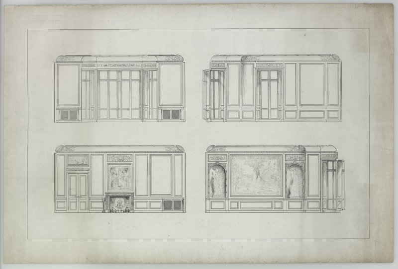 Interior. Four elevations entitled 'Toward Castle. Boudoir. 3''= 1 foot.'