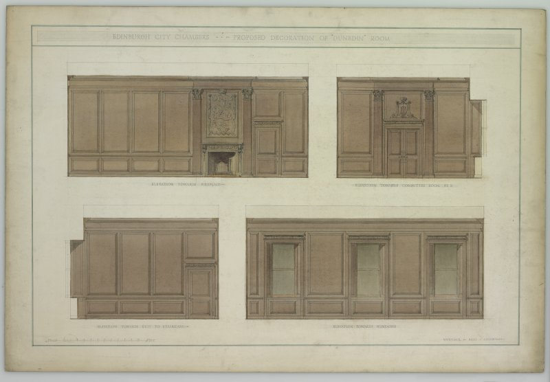 Drawing of interior Edinburgh City Chambers, detail of panelling.  Four elevations entitled 'Edinburgh City Chambers: proposed decoration of Dunedin Room'