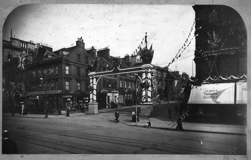Digital image of historic photograph showing decorations for coronation of Edward VII and triumphal arch to Hanover Street.