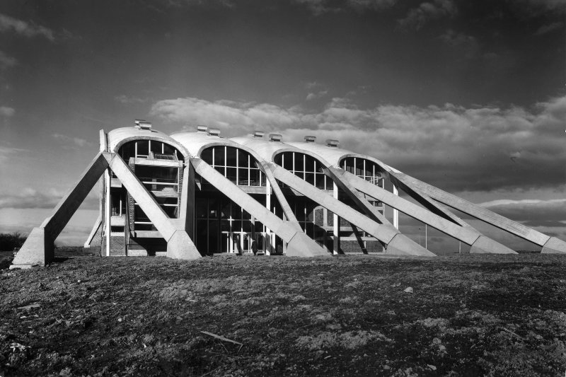 View of Dollan Aqua Centre, East Kilbride. The building's shape reflects the curve of the hill it stands on.