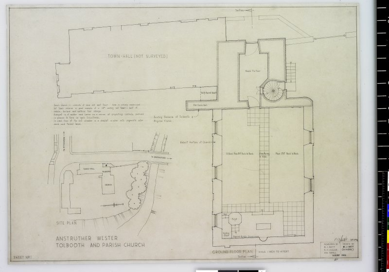 Site plan and ground floor plan Anstruther Wester Parish Church & Tolbooth Delt. M.J.Bett (Dundee) Measured by M.J.Bett, N.H.Cullen, W.H.Small August 1946