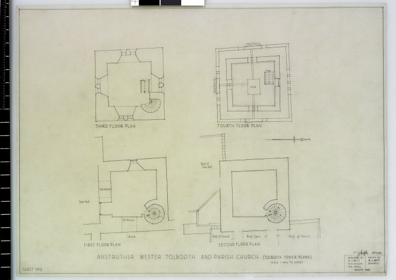 1st, 2nd, 3rd & 4th floor plans Anstruther Wester Parish Church & Tolbooth Delt. M.J.Bett (Dundee) Measured by M.J.Bett, N.H.Cullen, W.H.Small August 1946