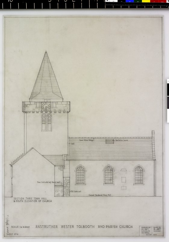 Section thro' Town Hall and S. elevation of Church Anstruther Wester Parish Church & Tolbooth Delt. M.J.Bett (Dundee) Measured by M.J.Bett, N.H.Cullen, W.H.Small August 1946