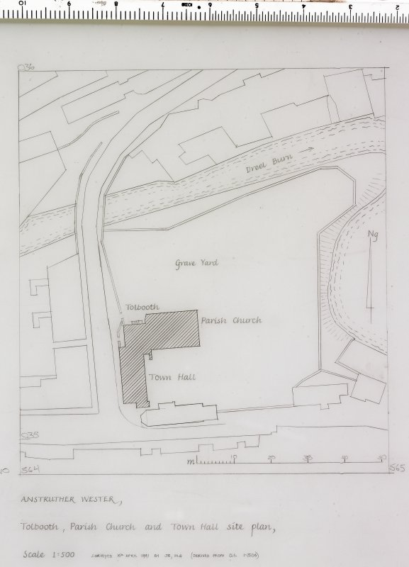 Site plan of Tolbooth and Parish Church Preparatory drawing for 'Tolbooths and Town-Houses', RCAHMS, 1996. Signed: 'J.B., H.L.G.'