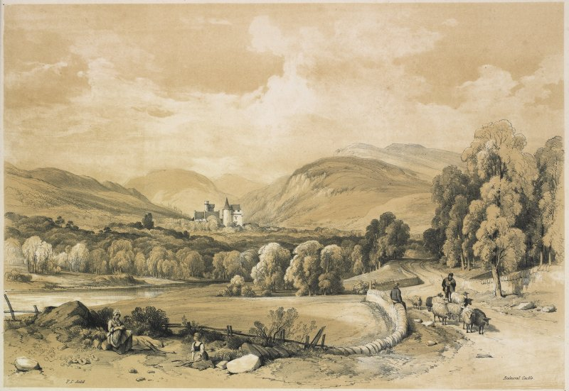 Lithographic view of old Balmoral castle with shepherd and sheep in foreground.