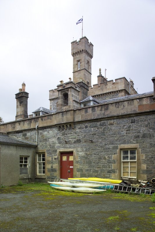 Service courtyard with tower behind from NW