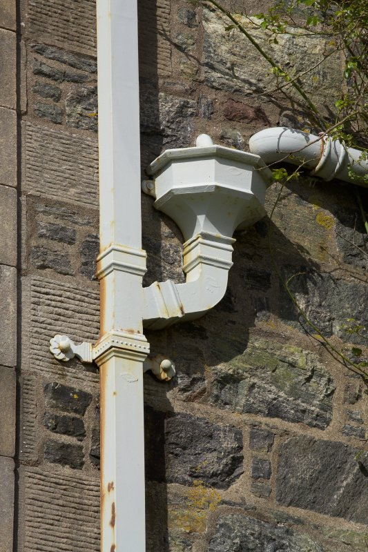 Detail of rain-water head and down pipe