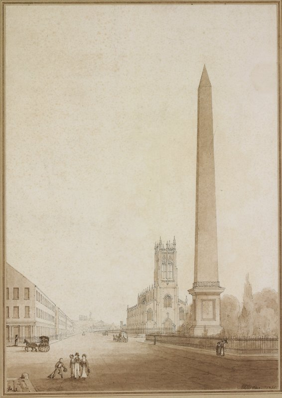 Unexecuted competition design for an obelisk in memory of Sir Walter Scott, with St John's Episcopal Church in the background, Edinburgh.