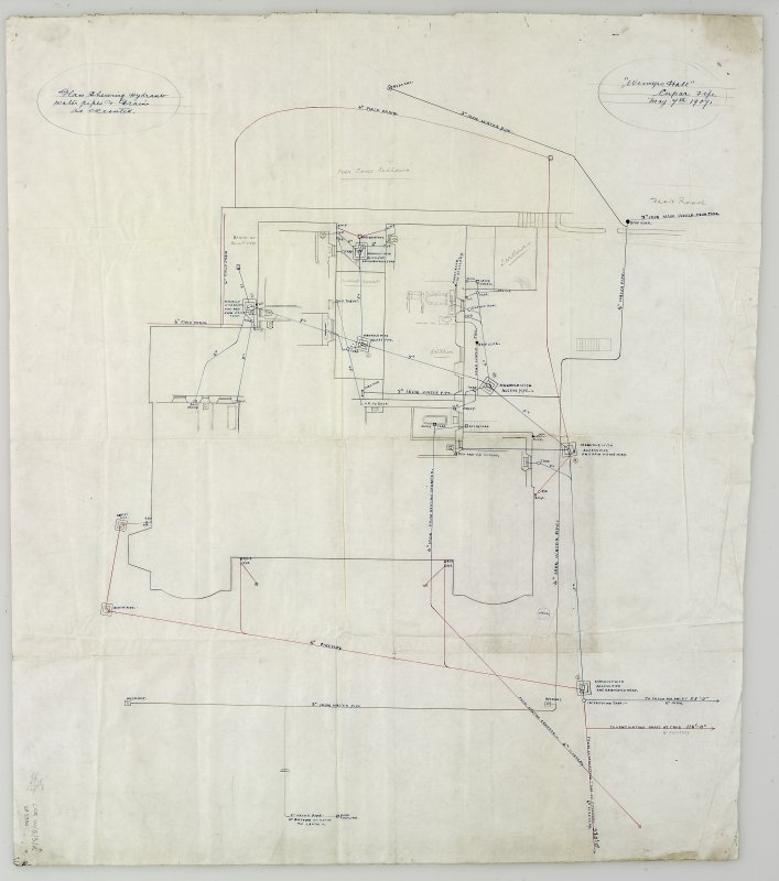 Digital copy of drawing showing hydrants, water pipes and drains.