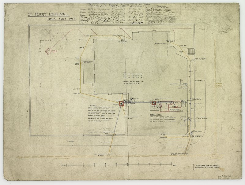 Digital copy of drawing showing drain plan.
