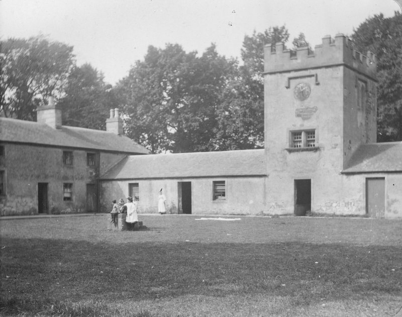 View of service court yard and clock tower, Inchrye Abbey.