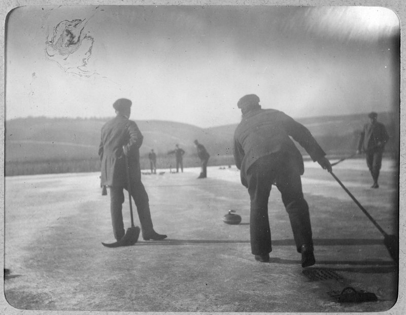 View of curling game possibly on Lindores Loch.
