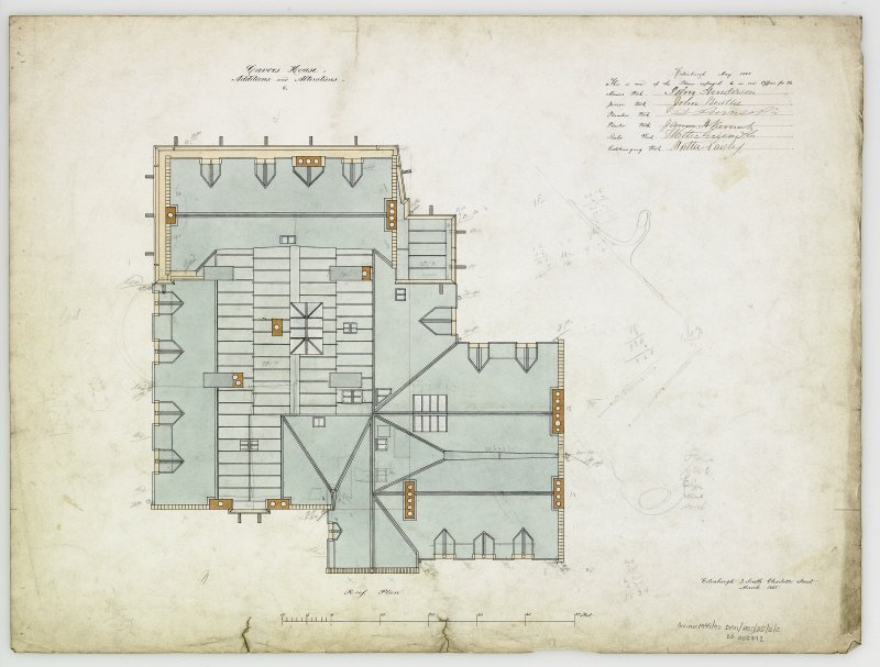Digital copy of roof plan of additions and alterations 6. For Capt Palmer Douglas.