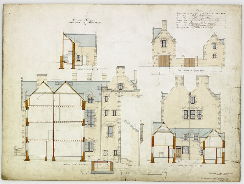 Digital copy of sections and elevations of additions and alterations 10. For Capt Palmer Douglas.