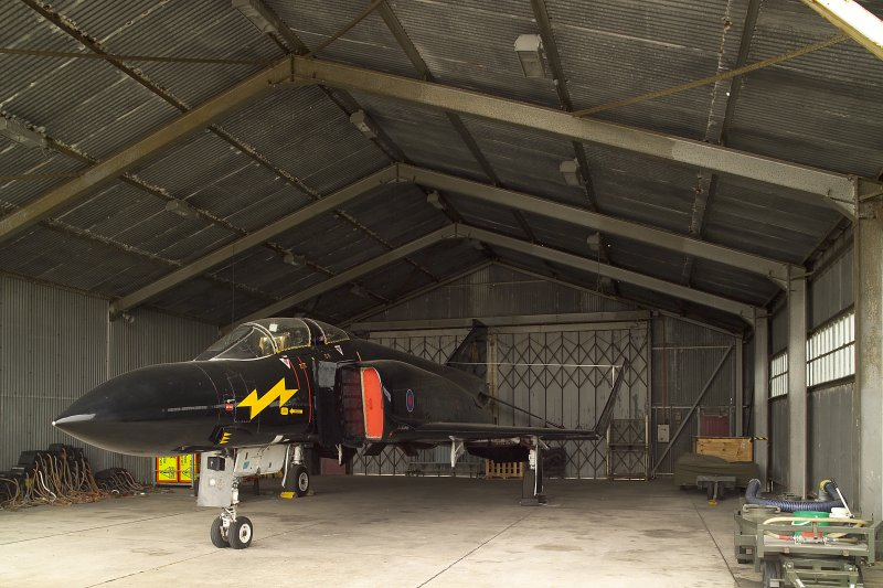 Interior.  Stand-by Squadron aircraft hangar with Phantom FRG 2 from ESE.