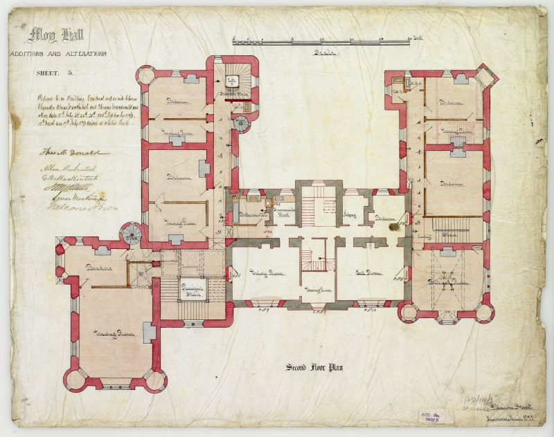 Drawing showing second floor plan with additions and alterations  (Alexander Ross) 9 Union Street, Inverness 1872
