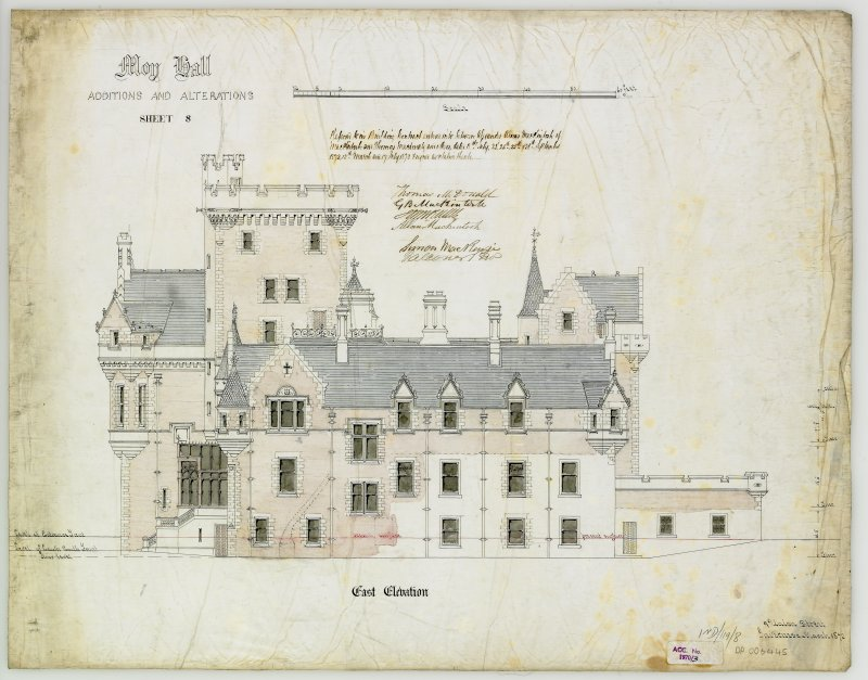 Drawing showing  East elevation of Moy Hall with additions and alterations (Alexander Ross) 9 Union Street, Inverness 1872