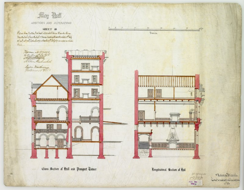 Drawing showing cross section of hall and Prospect Tower, and longitudinal section of Hall with additions and alterations  (Alexander Ross) 9 Union Street, Inverness 1872