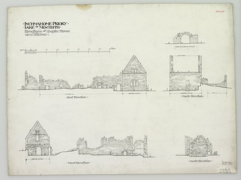 Digital image of drawings of elevations of chapter house and kitchen.