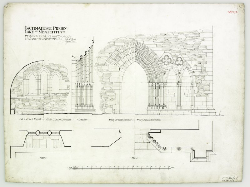 Drawing showing details of W doorway and window in chapter house.