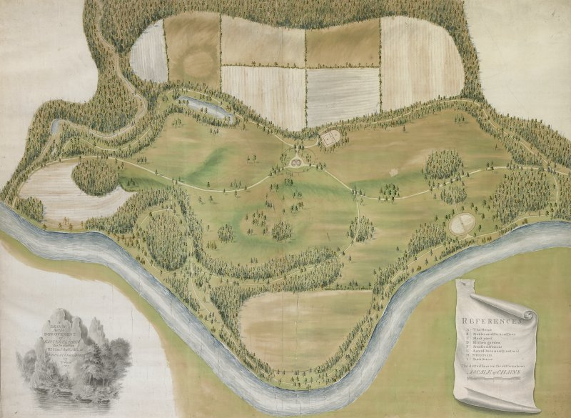 "Copy of framed and glazed Estate Map showing Easter Elchies house and Macallan Estate by Thomas White, 1789. Insc: ""A Design for the improvement of Easter Elchies...by T White 1789"""