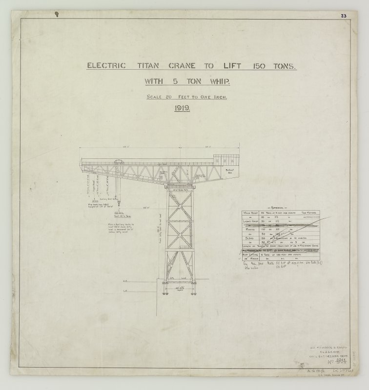 Elevation, notes, North British Diesel Engine Co. Cantilever Crane Insc: 'Electric Titan Crane to lift 150 Tons with 5 Ton Whip' See MS/744/7/6	 Signed: 'Civil Engineering Dept.'