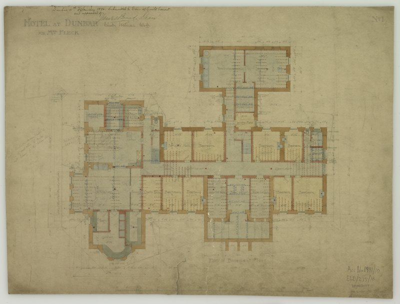 Digital image of drawing showing plan of basement, signed and annotated as approved by the Dean of Guild Court. Titled: 'Hotel At Dunbar For Mrs. Fleck'. Insc: 'No.1'.   '94 George Street   Edinburgh   July 1895'. Insc on verso: 'Edinburgh   January 1896   Subscribed with reference to contract between us'. Signed on verso: 'Helen Fleck'   'Peter Whyte'.